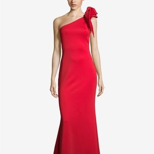 Betsy & Adam Petite Ruffled One-Shoulder Gown Red